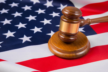 hammer judge on the flag of the united states of america. Court, law, crime and punishment. Gavel. Verdict. US