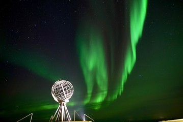 Foto op Plexiglas Noorderlicht Northcape with Aurora Borealis
