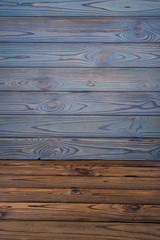 wooden boards background texture, blue top and brown bottom, mock up for design