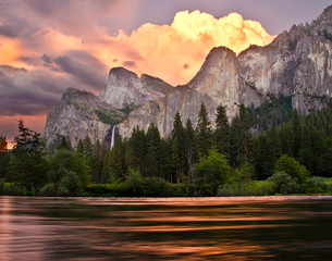 Merced river and Bridalveil Falls, Yosemite National Park, California, USA