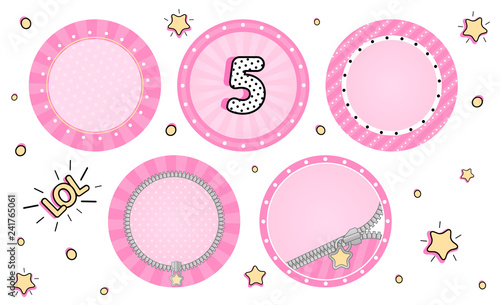 Set of cute vector LOL surprise cupcake toppers  Pink party stickers