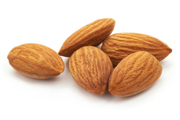 Almond. Almond nuts, close-up isolated on a white background