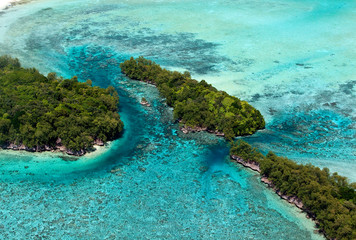 Aerial view of coral and rock islands, Palau.