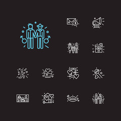 Romance icons set. Serenade and romance icons with gramophone, gay couple and lovely cupcake. Set of musical for web app logo UI design.