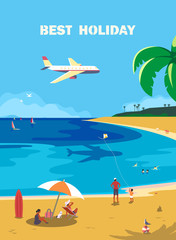 Summer seaside landscape. Blue ocean scenic view poster. Hand drawn cartoon retro style. Holiday family vacation season sea resort travel for leisure. Vector tourist fun trip advertisement background