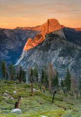 Half dome at sunset from Glacier Point, Yosemite National Park CA.