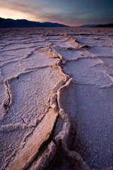 DEATH VALLEY NATIONAL PARK, CA: Salt rises to the surface in Badwater Basin.