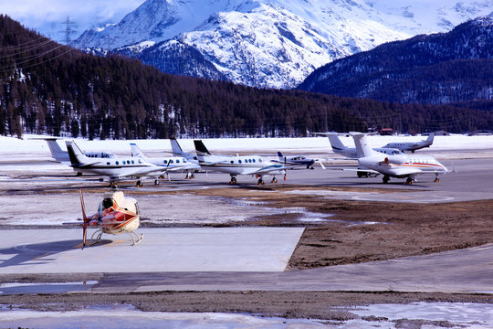 Executive jets and planes in the airport in St Moritz Switzerland