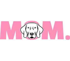 Weimaraner mom in pink