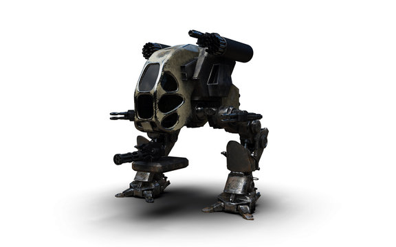 3D Illustration Of A Futuristic Rusted Armored Robotic Weaponized Mech War Vehicle Isolated On A White Background