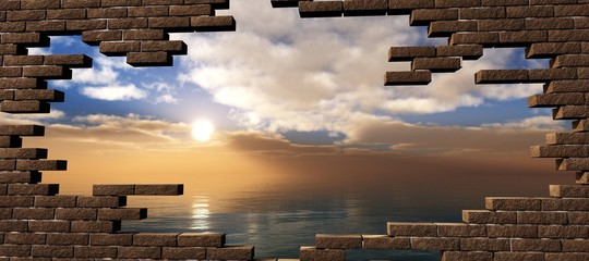 Sea sunset in the breaking of a brick wall,