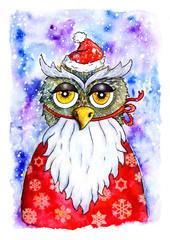 Christmas card owl