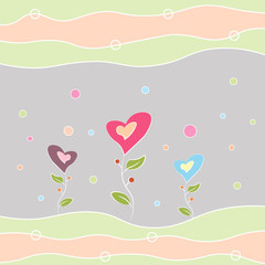 Greeting card happy birthday, Valentine s Day and other holidays multi-colored flowers in the shape of a heart