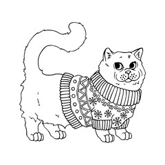 Group of vector illustrations on the pets theme: сat in a sweater. Cartoon character. Domestic animal. Isolated objects for your design.