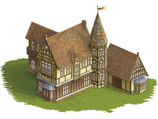 Half-timbered building color picture for game isometry