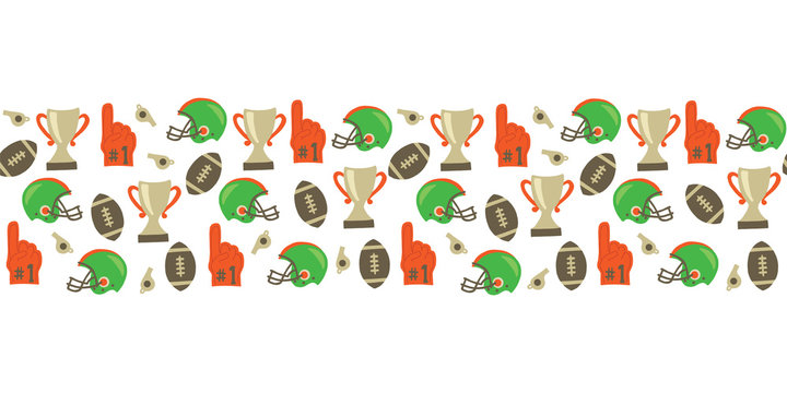 American Football seamless vector border. Helmet, trophy, foam finger, football. Super Bowl vintage style background. For tailgate party, invitation, flyer, fabric, kids