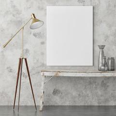 Mock up poster, retro interior design, lamp, old table and decoration, 3d render, 3d illustration