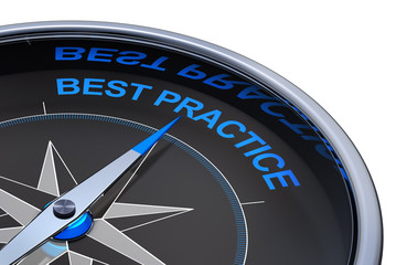 3D rendering of an compass with the words best practice