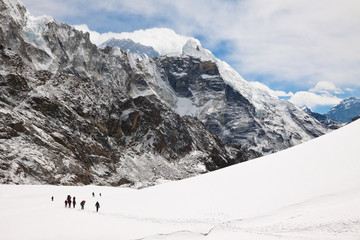 Climbers and sherpas at Cho La Pass. Trek to Everest base camp.