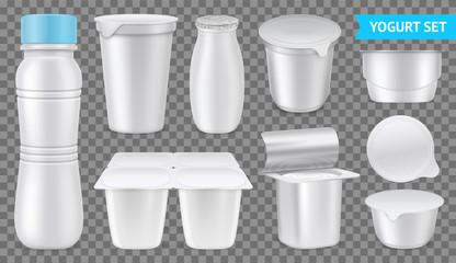 Realistic Yogurt Transparent Icon Set