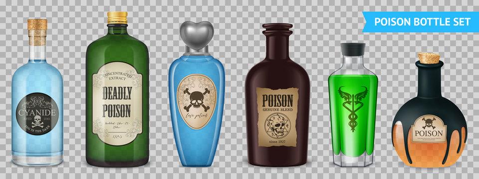 Realistic Poison Bottles Set