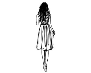 Girl walking in the dress. View from behind. Fashion sketch