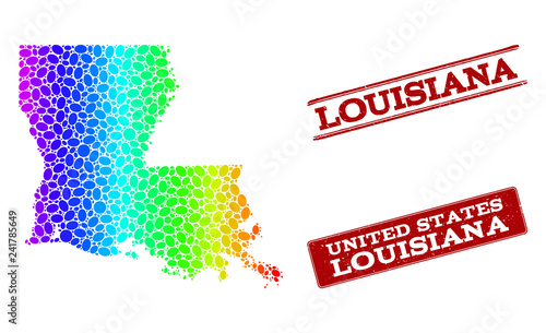 Geographic Map Of Louisiana.Spectrum Dotted Map Of Louisiana State And Red Grunge Stamps Vector