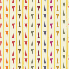 Contemporary red, blue, orange, green hand drawn triangles with grunge stripes as geometric seamless vector pattern on neutral background. Great for home decor, scrapbooking, giftwrap, stationery