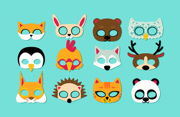 Collection of wild animals photo booth props for kids. Cute cartoon masks and elements for a party.