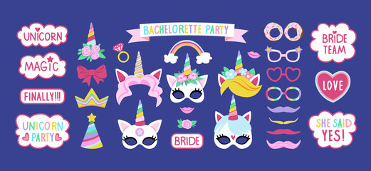 Collection of photo booth props for bachelorette unicorn party. Cute vector design.