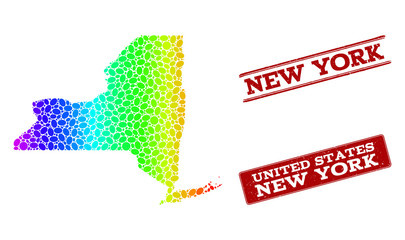 Spectrum dotted map of New York State and red grunge stamps. Vector geographic map in bright spectrum gradient colors on a white background.