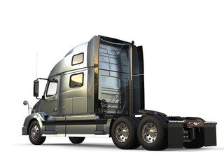 Metallic slate gray modern big semi trailer truck - side view