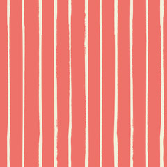 Vector vertical white grunge stripes painted with a brush as a seamless vector pattern on living coral background. Great for fabric, home decor, scrapbooking, giftwrap, stationery