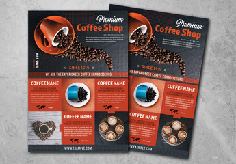 Coffee Shop Flyer Layout with Red Accents