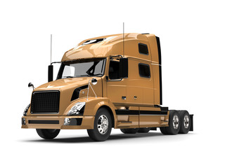 Metallic golden semi trailer truck