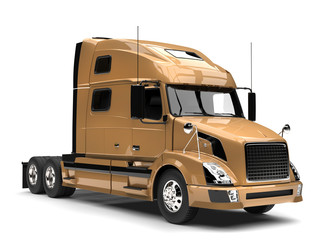 Metallic golden semi trailer truck - closeup shot