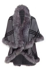 Women's winter cape with faux fur