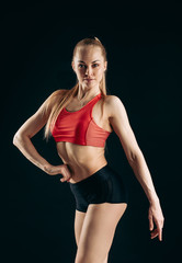 sexy beautiful blond girl is stylish clothes posing to the camera. close up photo.hobby, health and body care