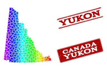 Spectrum dotted map of Yukon Province and red grunge stamps. Vector geographic map in bright spectrum gradient colors on a white background.