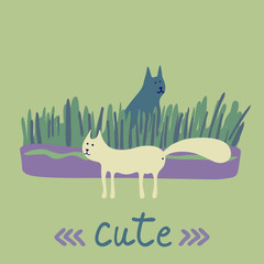 Fotobehang Kasteel Vector concept with cute cats and flowers in soft colors on a green background, great for printing or textile design.Flat,hand drawn