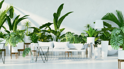 Botanical interior - Tropical design living room / 3D render image