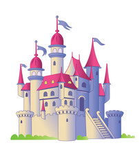 Fairy tale castle on a white background. Illustration of a child. Vector