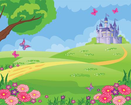 Fairy tale background with flower meadow, Princess's castle and butterflies. Wonderland. Cartoon, children's illustration. Fabulous landscape. Beautiful Park or garden. Vector.
