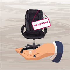 Vector illustration of office chair. Office chair and sign vacant. Recruitment