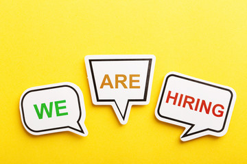 We Are Hiring Speech Bubble Isolated On Yellow