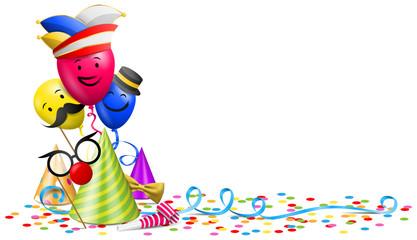 Karneval Fasching Vektor mit Konfetti, Luftballons und Partyhut