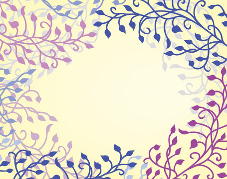 ivy vine border on beige background vector with floral leaves and curls design elements that are editable in soft romantic purple pink and blue on yellow
