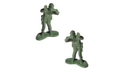 Green soldiers separated from the white background