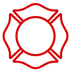 Firefighter Emblem St Florian Maltese Cross White with Red Outline