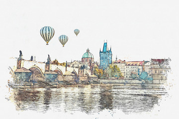 Watercolor sketch or illustration of a beautiful view of the ancient architecture of Prague and the Charles Bridge over the Vltava River. Hot air balloons are flying in the sky.